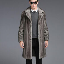 Mens Suit Collar Single-breasted Slim Fit Long Imitation Fur Coat Warm Overcoat