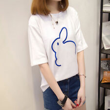 Hot Women T-Shirt Embroidery Bunny Short Sleeve Loose Shirts Blouse Casual Tops
