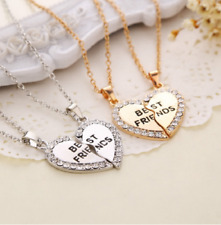 Best Friends Rhinestone Split Heart Friendship Pendants Necklaces