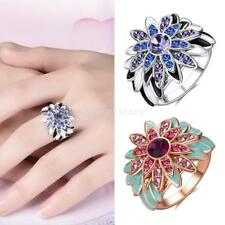18k Gold Plated Sun Flower Rings Women Crystal Platinum Ring Retro Boho Jewelry