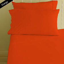 1000TC EGYPTIAN COTTON ORANGE SOLID BEDDING ITEMS EXTRA DEEP POCKET FITTED