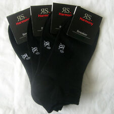 4 Pairs Men's Trainers Footlet Socks with Cotton Black Sizes 39 Bis 52