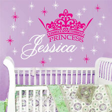 Princess Crown Customized Girls Name Decal Vinyl Text Personalized Wall Sticker