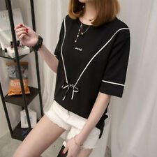 Summer Women's Bowknot Loose Tops Lady Sexy Short Sleeve Casual Blouse T-Shirts