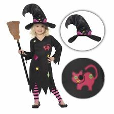 Kids Girls Cute Kitty Cat Magic Cinder Witch Halloween Costume with Hat Harry