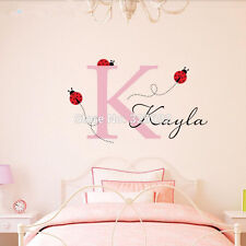Ladybug Customized Girls Room Name Decal Vinyl Text Personalized Wall Sticker