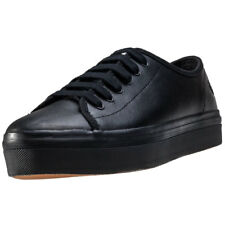 Fred Perry Phoenix Flatform Womens Black Leather Casual Trainers Lace-up