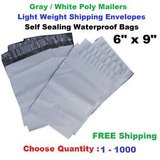 "6"" x 9"" Poly Mailers Shipping Envelopes Self Sealing Plastic Mailing Bags 1-500"
