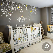 Branches and Leaves Customized Name Decal Vinyl Text Personalized Wall Sticker