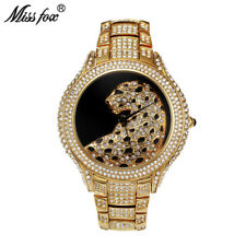Miss Fox Luxury Leopard Diamond Women Quartz Watch Fashion Rhinestone Wristwatch