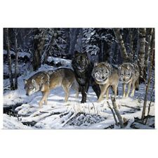 Poster Print Wall Art entitled On the Night Trail Wolves