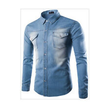 Men Button-Front Casual Denim Shirt Long Sleeve Slim Fit Mens Jeans Shirts Tops