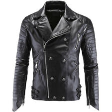 Mens Lapel Collar Punk Zipper Motorcycle Jackets Leather Slim Fit Coat Outwear