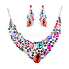 Wedding Choker Statement Necklace Earrings Crystal Bridal Prom Jewelry Set