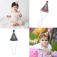 Baby Girls Boys Infant Toddler Sequined 1st Birthday Party Cone Hat Headband