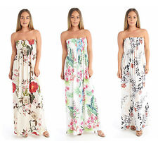 New Women Ladies Floral Leaf Print Elasticated Bust Bandeau Sheering Maxi Dress