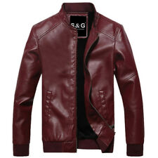 Mens Stand Collar Punk Motorcycle Jackets Slim Fit Short Leather Coat Outwear