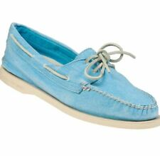 NEW Sperry Top-Sider 2-Eye Washed Turquoise Blue Canvas Boat Shoes - MSRP $90.00