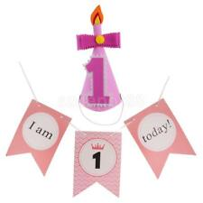 Cute Baby Girl 1st Birthday Party Cone Hat+I AM 1 TODAY Chair Banner Party Decor