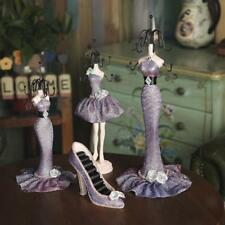 Purple Lace Shoe Dress Mannequin Ring Necklace Jewelry Organizer Display Stand