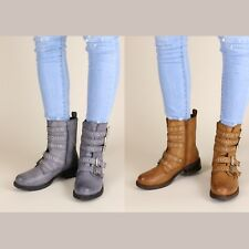 Womens Punk  Multi Buckle Ankle boots Oxfords Round Toe Shoes New