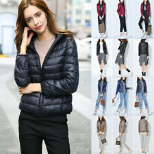 Winter Women's Down Cotton Parka Short Fur Collar Hooded Coat Quilted Jacket PT