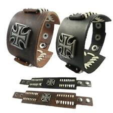 Punk Rock Leather Bracelet Bangle Cross Wide Wristband Fashion Jewelry 23cm 23cm