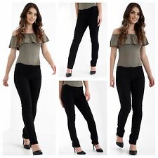 WOMENS GIRLS BLACK SCHOOL TROUSERS LYCRA STRETCH WORK CASUAL ZIP UP FRONT PANTS