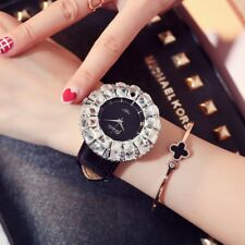 Luxury Large Rhinestone Women Watches Leather Band Wristwatch Girl Crystal Watch