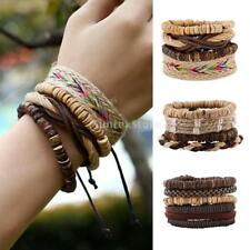 Retro Leather Bracelet Multilayer Bangles Braided Rope Wood Beads Cuff Wristband