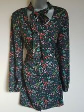 BNWT New LIPSY Black Green Red Floral Tie Pussy Bow Long Sleeve Pencil Dress 12