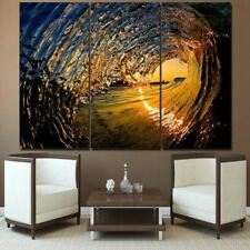 3 piece Canvas Art Huge Ocean Wave at Sunset Seascape