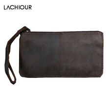 Vintage Handmade Men Leather Purse Long Business Wallet Handbag Wallet