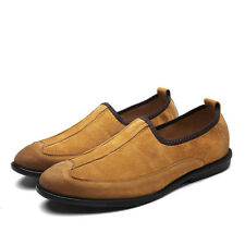 Mens Solid Color Round Toe Slip On Loafer Casual Shoes Wing Tip Comfy Brogues Sz