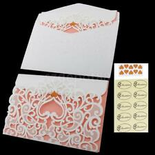 10pcs Wedding Banquet Heart Greeting Invitation Cards Seals Sticker Envelope Kit