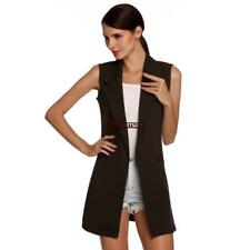 Meaneor Stylish Ladies Women Casual Sleeveless Lapel Pocket Solid Vest ES88