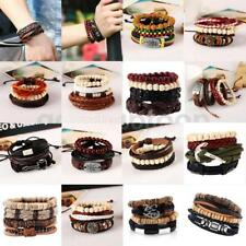 Fashion Unisex Tribal Ethnic Leather Adjustable Beaded Charm Bracelet Wristband