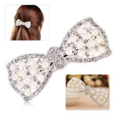 Stylish Women Girl Crystal Bow Hair Clip Hairpin Barrette Pearl Hair Accessories