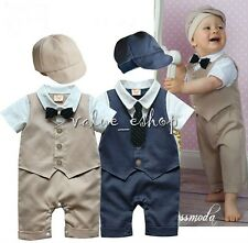 Baby Boy Smart Tuxedo Romper Bow Tie Special Occasion Outfit+Hat Formal Suit New