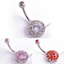 Fashion Belly Button Ring Stainless Steel Navel Ring Zircon Piercing Jewelry GT