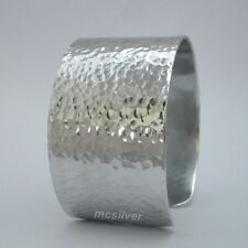 "2"" Wide Hammered Texture Band Cuff Bracelet Bangle Silver Tone Bangle Aluminum"