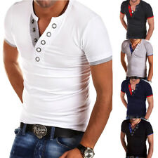 Stylish Men's Slim Fit V-neck T-Shirt Tops Muscle Casual Short Sleeve Tee Shirts