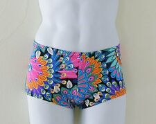 MENS Low Rise Square Cut Swimsuit in Peacock Print: S-M-L-XL