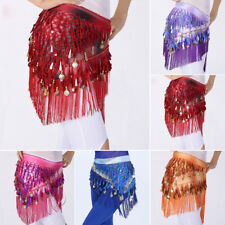 Belly Dance Hip Scarf Tribal Fringe Tassel Wrap dancing Sequin Gold Skirt Costme