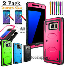 Hybrid Armor Hard ShockProof Phone Case Cover W/ Tempered Glass Screen Protector