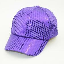 Unisex Sequined Ball Cap Sparkle Cycling Sun Hat Sports Rave Party Purple Hat