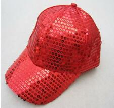 Unisex Sequined Ball Cap Sparkle Cycling Sun Hat Outdoor Rave Party Hot Red Cap