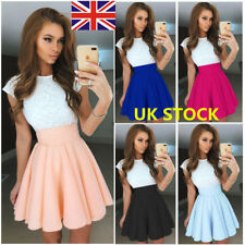 UK Women Short Sleeve Lace Dress Sundress Evening Party Cocktail Short  Dress