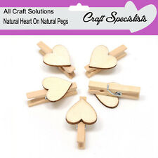 NATURAL HEARTS ON NATURAL PEGS - SMALL 30mm WOODEN CRAFT PEGS METAL SPRING