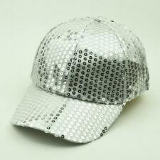 Unisex Sequined Ball Cap Sparkle Cycling Outdoor Silver Rave Party Sun New Hat